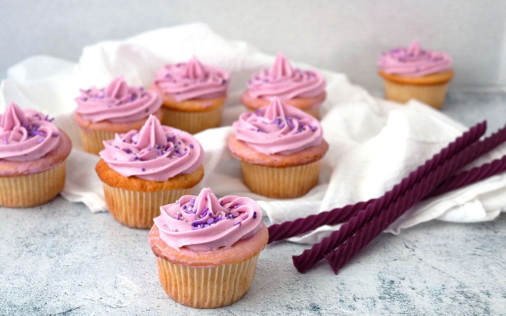 Grape Buttercream Vanilla Cupcakes