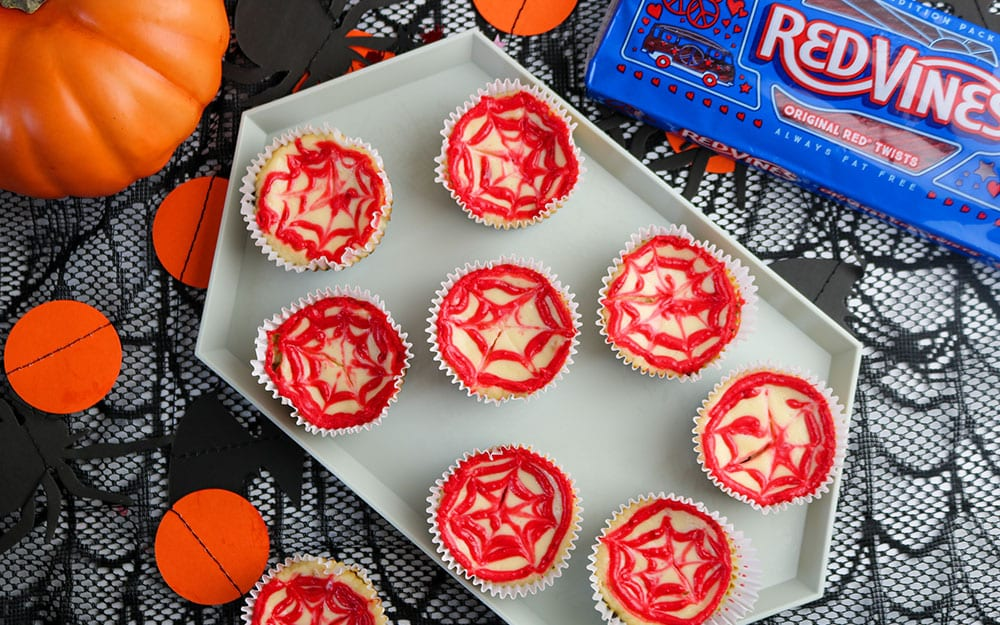 Spooky Spiderweb Mini Cheesecakes