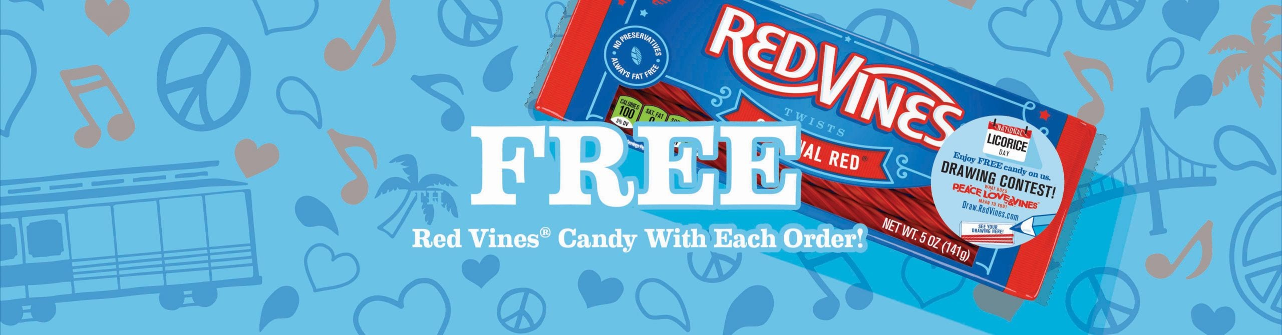 Free Red Vines Candy with Each Order!